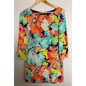 Trina Turk 3/4 Sleeve Shift Silk Mini Dress Sz 6